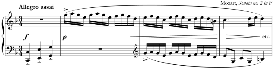 Some whole bar rests in 3/4, Mozart's 'Sonata no. 2' for piano