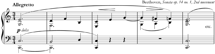from Beethoven, Piano Sonata op. 14 no. 1, 2nd movement