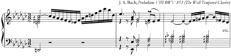 from Bach, Preludium VIII BWV 853 from The Well-Tempered Clavier