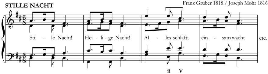 This harmonisation of 'Silent Night' (Franz Grüber) includes an imperfect cadence to end the 3rd phrase