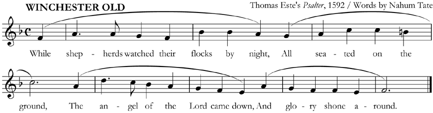 Verse 1 of 'While Shepherds Watched', with phrase-marks