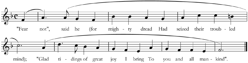 Verse 2 of 'While Shepherds Watched', with phrase-marks showing the different phrase-lengths in this verse