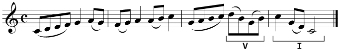 A perfect cadence in a melody