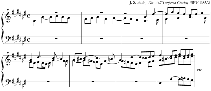 J.S. Bach, music in D sharp minor from 'The Well-Tempered Clavier', BWV853/2