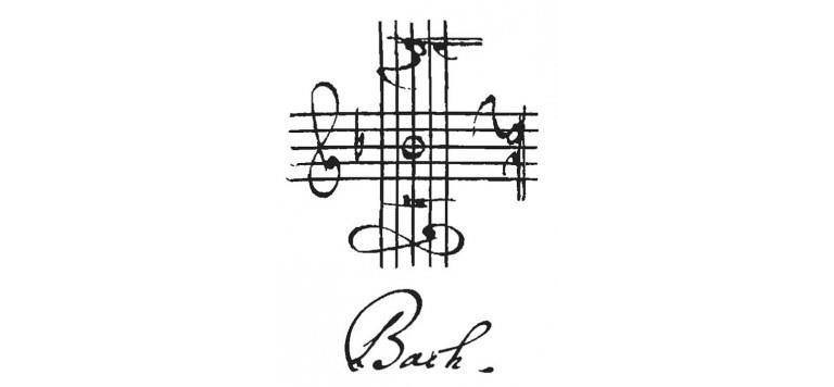 The letters B-A-C-H spelled out using three clefs and one note