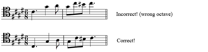 Top: Incorrect! (wrong octave), Bottom: Correct!