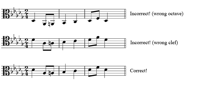 Top: Incorrect! (wrong octave), Middle: Incorrect! (wrong clef), Bottom: Correct!