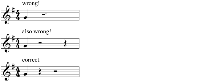 A single crotchet at the end of a bar must not be preceded by a dotted rest