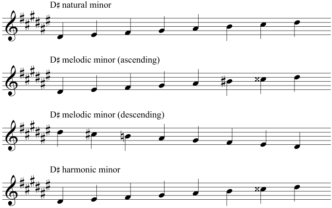 The key signature and scales of D sharp minor