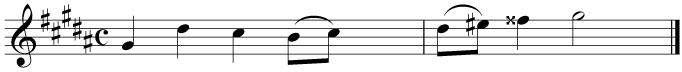 Transpose this melody up by a tone for a trumpet in B flat