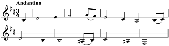 'Greensleeves', which uses accidentals in the melody