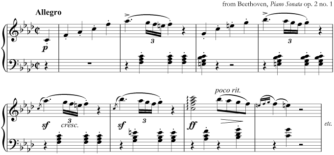 from Beethoven's Piano Sonata in F minor