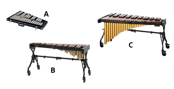 Percussion instruments with a keyboard layout