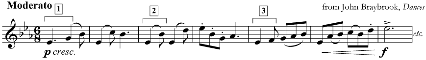 Several melodic intervals in E flat major