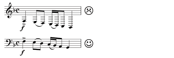 Practicality issues solved by using a different clef