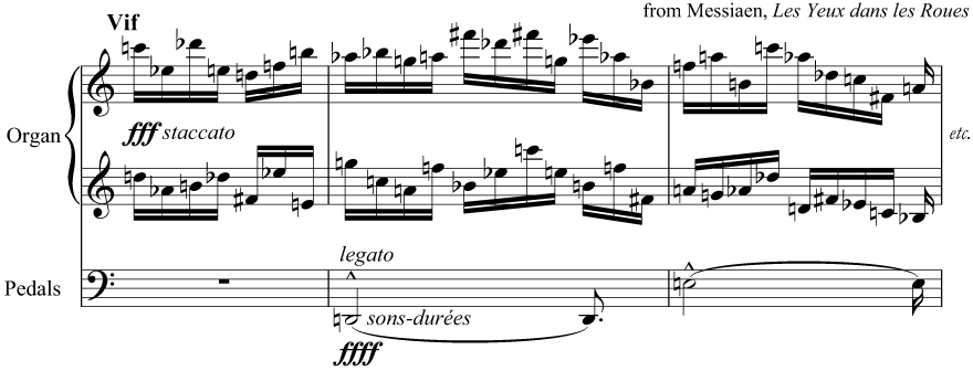 Lots of accidentals! From Messiaen, 'Les Yeux dans les Roues'