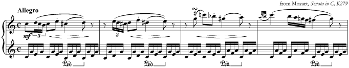 An Alberti bass in music by Mozart
