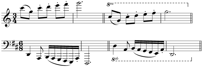 Different symbols in use to indicate octave transposition