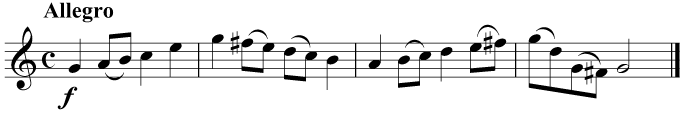 By making every F an F sharp, using the notes of the G major scale, we can play in the key of G major