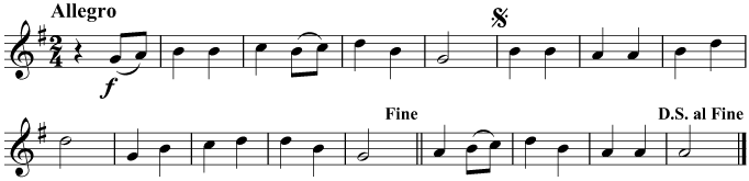 After reaching the end, play the music again, starting at the sign and ending at Fine