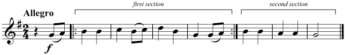 Repeat the first section before playing the second section