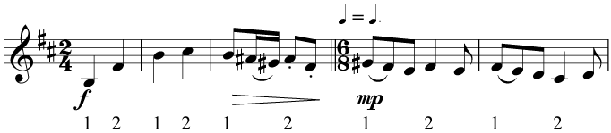 Changing from simple to compound time without changing the tempo