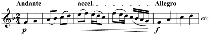 The tempo gradually gets faster until the double bar