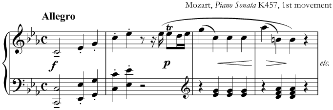 Music from a fast movement by Mozart