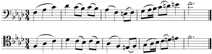 The same tune in tenor and bass clefs