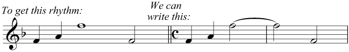 Two minims tied together to make a note equal in duration to a semibreve