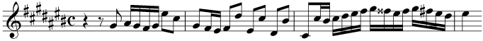 Transpose the music down by a semitone. The original is in C sharp major. Use a key signature for C major in your transposition.