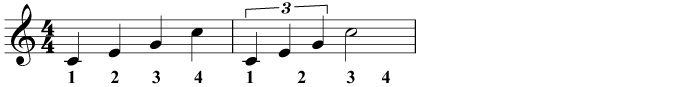 A triplet: three notes in the time of two